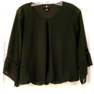 IZ Buyer XS Black sheer long sleeve lined blouse